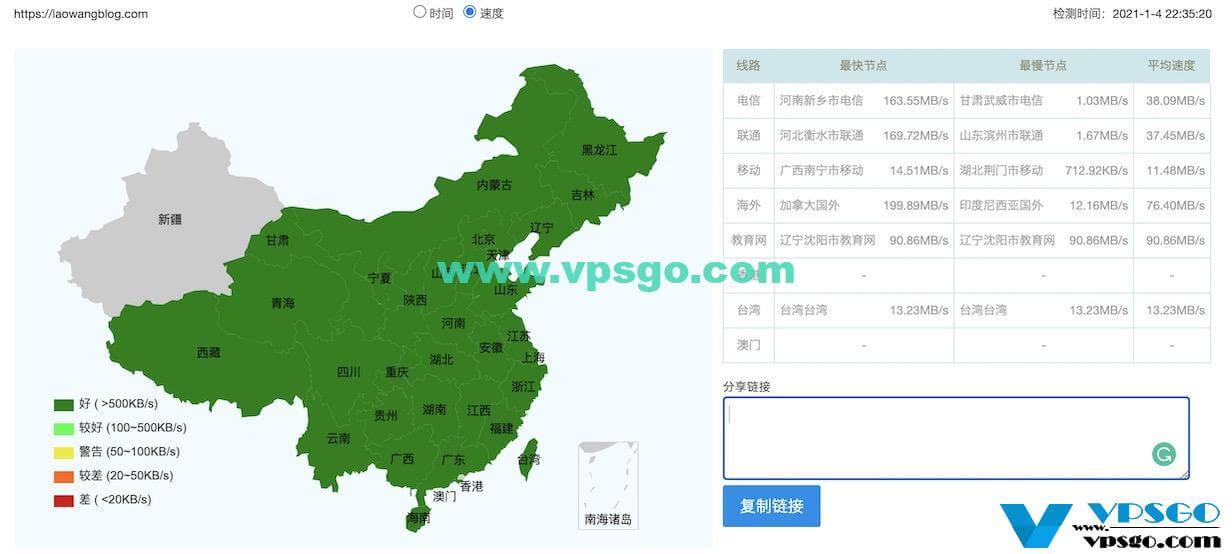 GigsGigsCloud香港建站速度测试