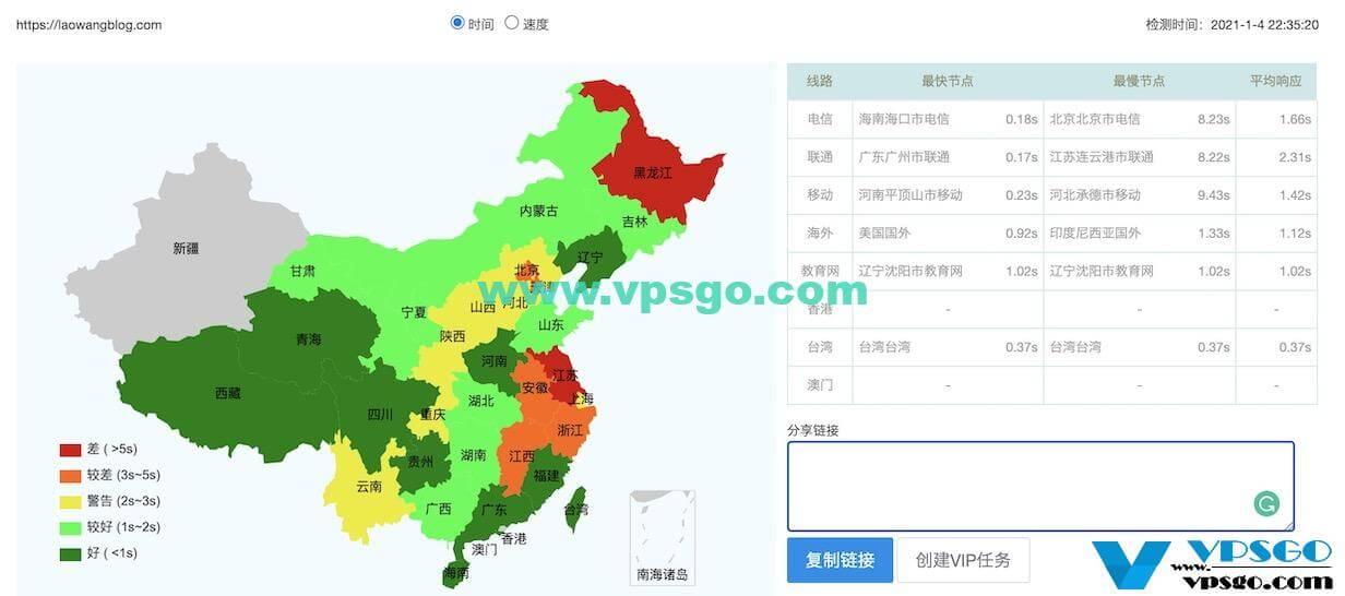 GigsGigsCloud香港网站响应时间测试