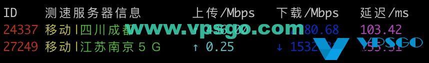 Vultr日本移动测速
