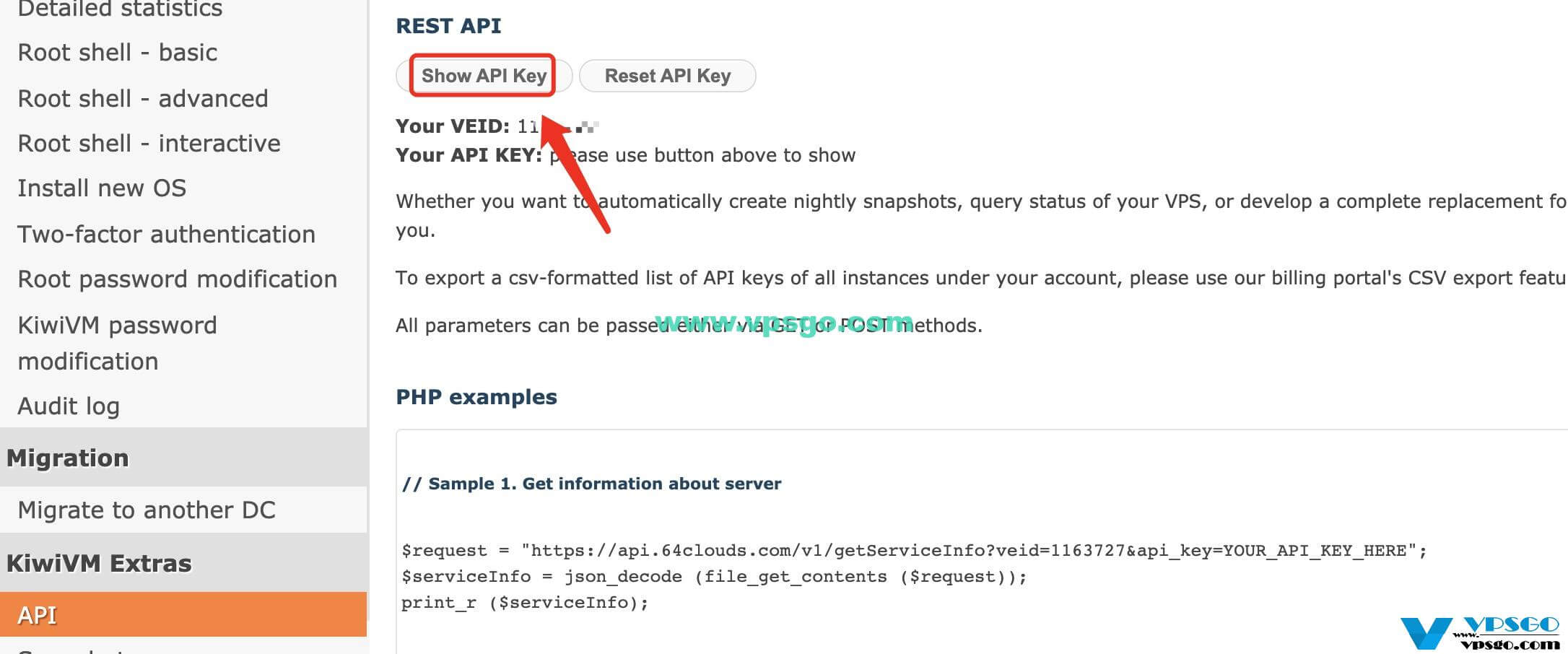 搬瓦工API Key和VEID